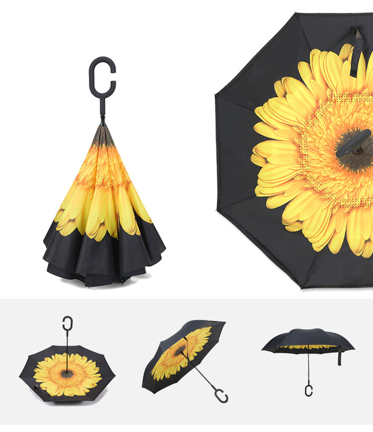 2019 Design Magic C Handle Double Layer Reverse Umbrella Inverted Upside Down Umbrella