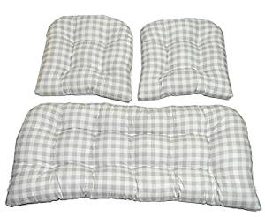 3 Piece Wicker Cushion Set - Gray / Grey Plaid / Country Checkered / Checkerboard Indoor Cotton Fabric Cushion for Wicker Loveseat Settee & 2 Matching Chair Cushions