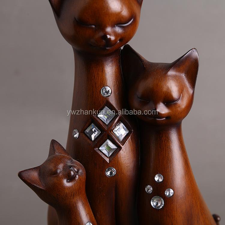 Kundenspezifische handgemachte Hauptdekor-Harz-Katze