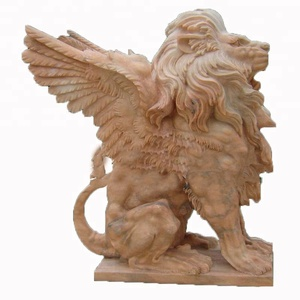 Sunset Red Hand Carved Natural Marble Winged Lion Statue