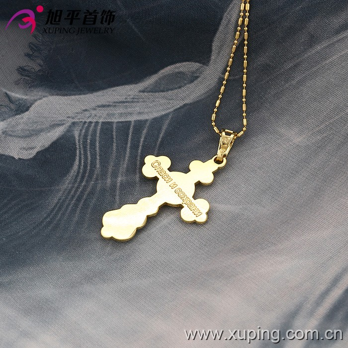 32200 Xuping Jewelry 14K Gold Color Jesus Cross Pendant for Women Religious cross Jewelry
