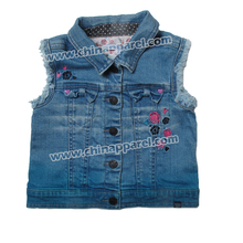 2018 style kids zipper coat girl's embroidered striped jean vest