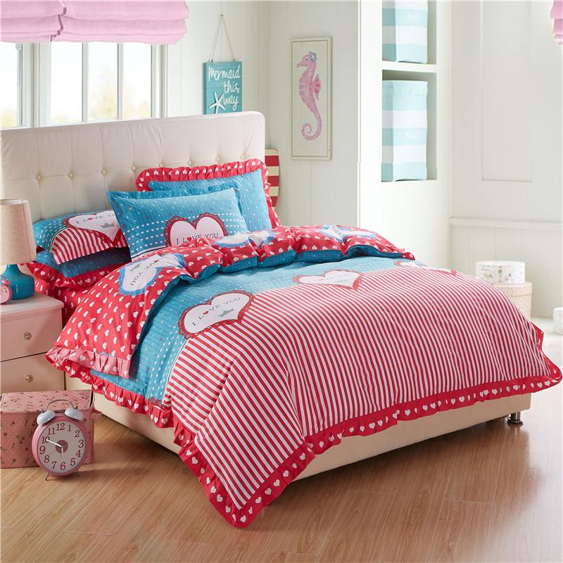 heimtextilien bettw sche bettw sche bettbezug set 100 baumwolle kinder liebe bettw schesatz. Black Bedroom Furniture Sets. Home Design Ideas