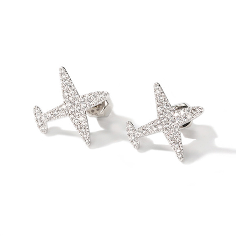 Handmade Jewelry 925 Sterling Silver Airplane Aircraft Plane Earring