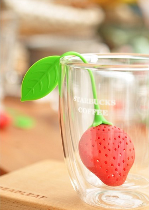 wish eBay hot sell strawberry silicone Infuser tea high quality low price