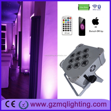 led lights stage edge lights 9*6in1 rgbaw+uv wireless dmx rechargeable battery powered led slim par/wireless dmx led flat par