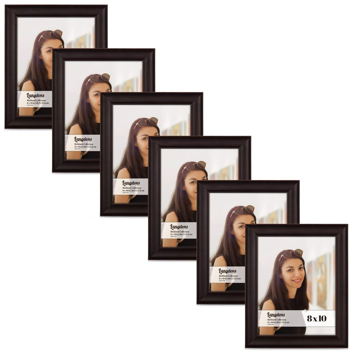 Langdons 8x10 Picture Frame Set (6-Pack, Dark Brown) Solid Wood Photo Picture Frames 8x10, Wall Hanging or Table Top, Display Picture Frame 8x10 Vertically or 10 x 8 Horizontally, Richland Series