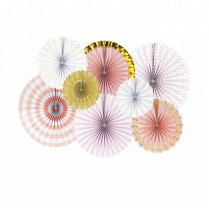 UMISS colorful hanging paper fans set decoration for New year, birthday ,wedding, baby shower, Summer party and other festivals