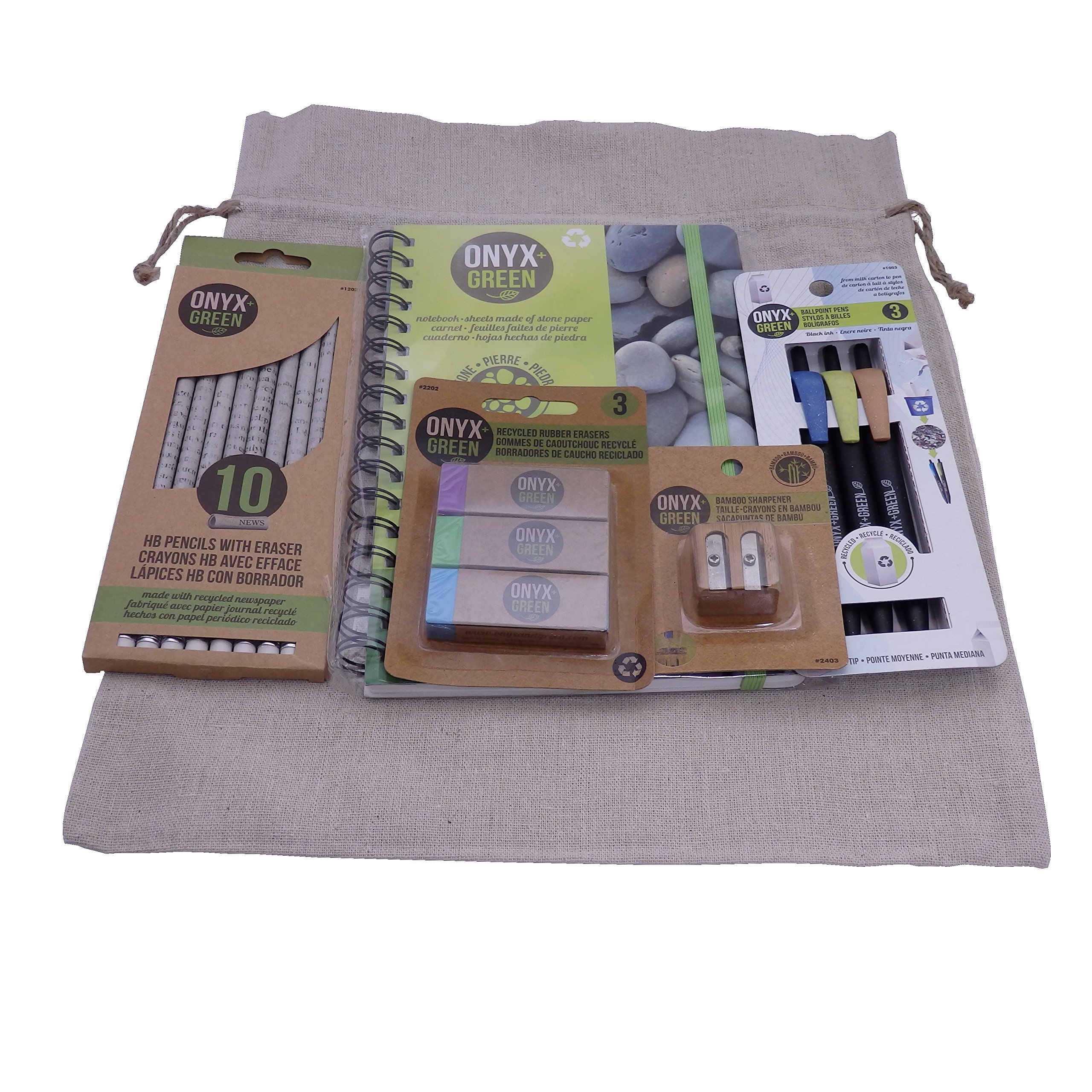 Recycled Sustainable Materials Green Eco Friendly School Supplies Kit - Pens Pencils Erasers Sharpener and Stone Paper Notebook - in a Natural Burlap Carry Bag