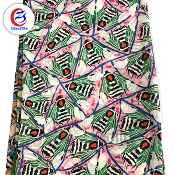 Newest design fashion garment wholesale printed beaded chiffon fabric