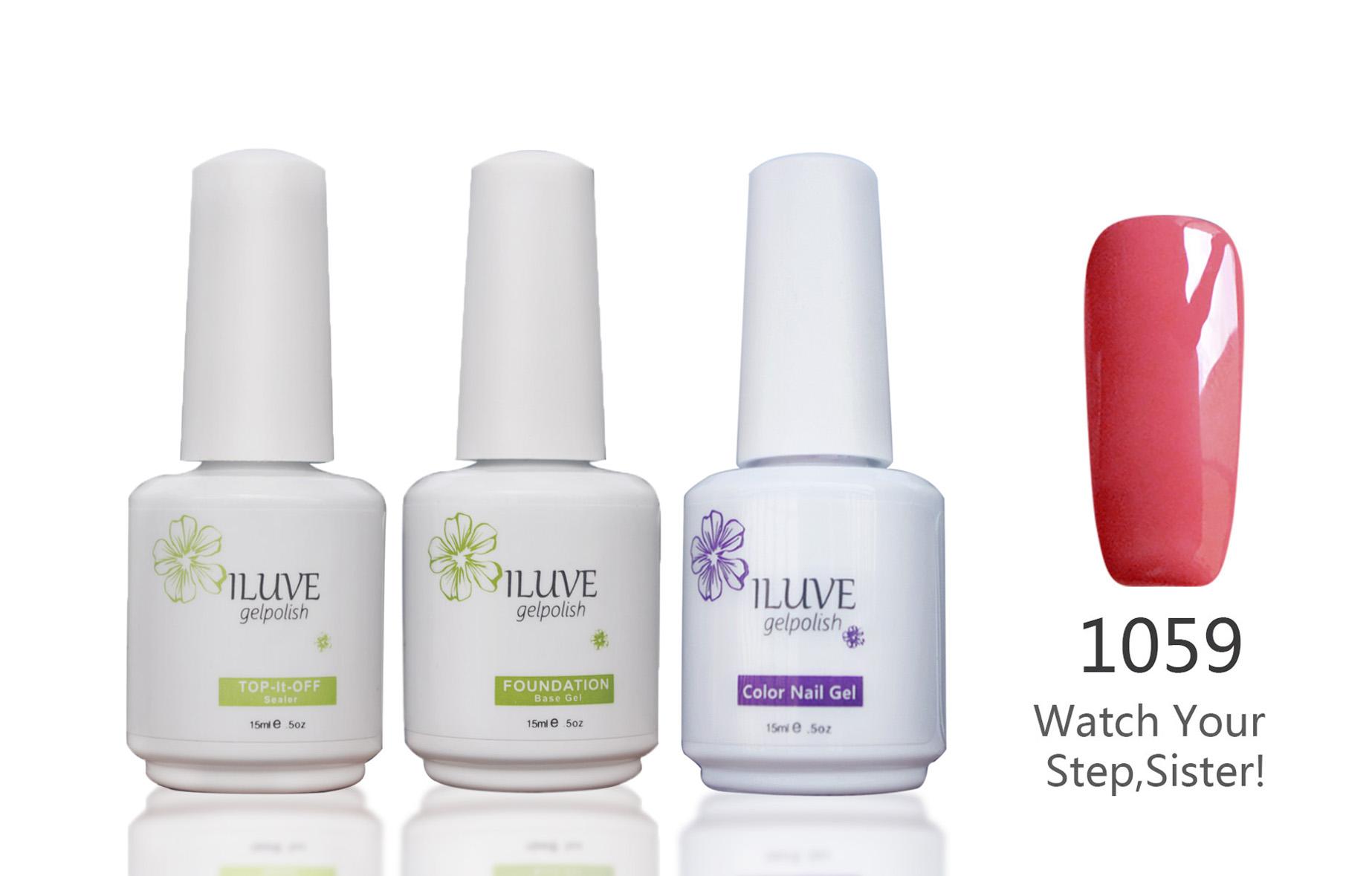 3 packs iLuve Professional Rose Pink Nail Gel Polish Set UV LED Lamps Gel 15ml Base
