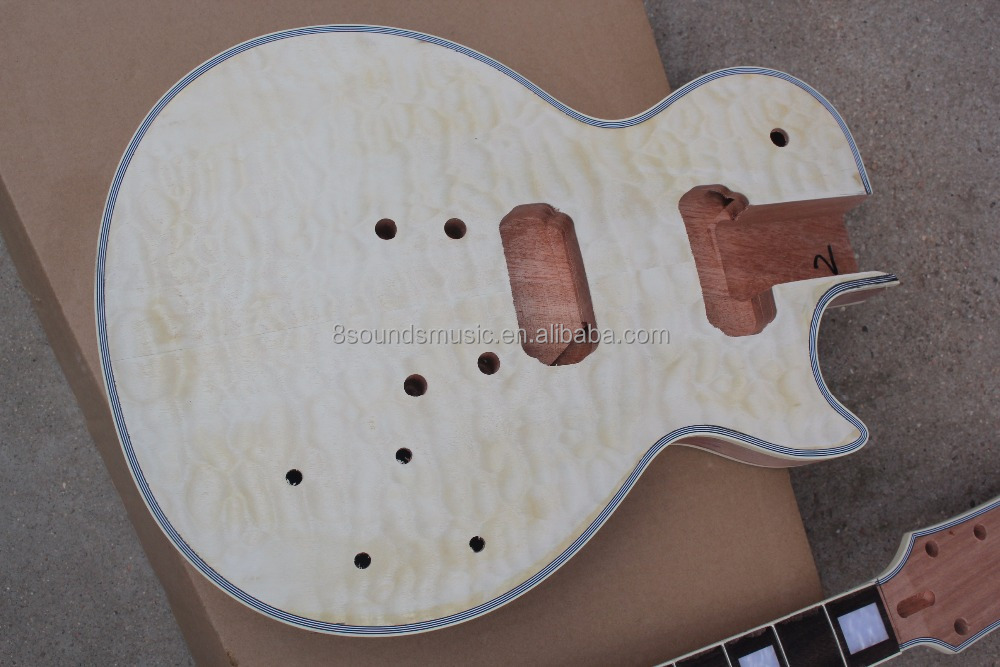 free shipping one piece neck LP guitar kit diy custom electric guitar