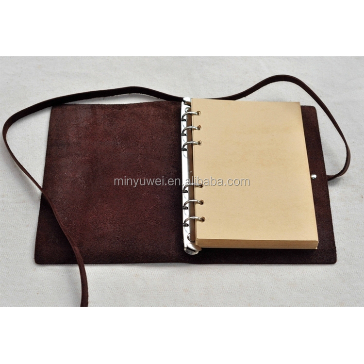 Coffee vintage leather A5 travel notebooks binder genuine leather journal notebook with refillable paper leather wraps closure
