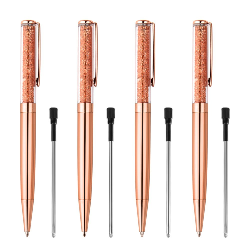 Coopay 4 Pieces Rose Gold Pens Bling Crystal Diamond Pens Metal Ballpoint Pens and 4 Pieces Ballpoint Pen Refills in Black Ink for School Office