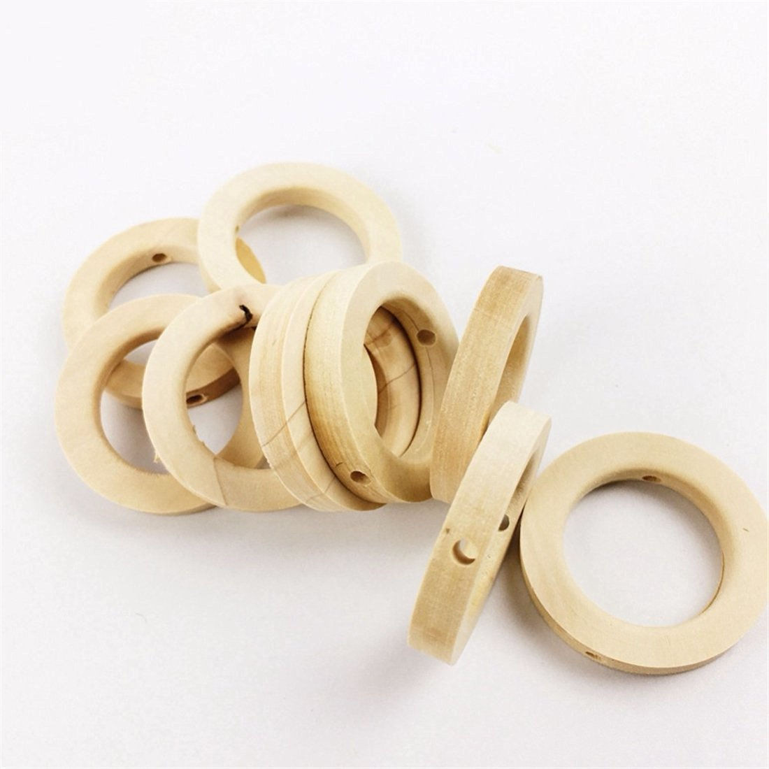 25pc Wooden Teether Baby Crib Toys Diy Crafts for Baby Nursing Necklace Baby Teether Wooden Rings Small Wood Beads