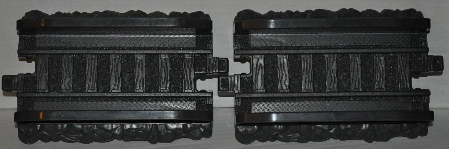 GeoTrax Black Bridge Segments (2) - Replacement Piece - Classic Fisher Price Geo Trax Collectible - Loose Out Of Package (OOP) Engine Cars Track Transportation Tracks