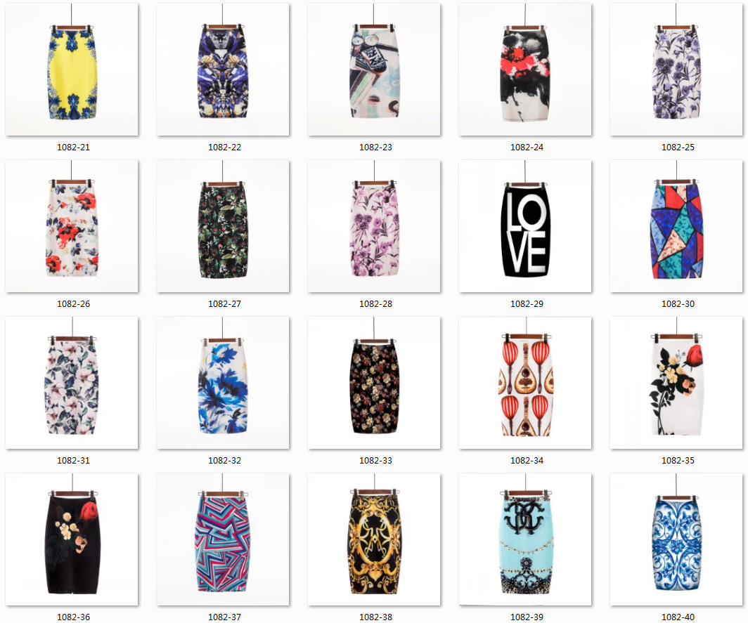 latest fashion plus size print high waist back zipper bodycon sexy pencil skirt for women