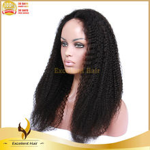"180% density Black Women Baby Hair Natural Color 18"" Unprocessed Virgin Remy Malaysian Afro Curly Human Hair Wigs"