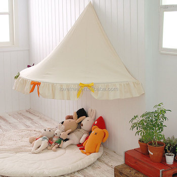 Half-moon Cotton Fabric canvas half moont child bed tent hanging teepee tent playhouse with & Half-moon Cotton Fabric canvas half moont child bed tent hanging ...