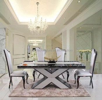 DH 1410 Contemporary Stainless Steel Glass Table Dining Room Set Used Restaurant  Furniture Foshan China