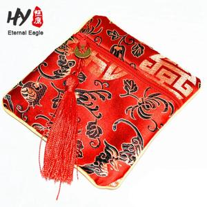 Factory Wholesale Small Chinese characteristics silk satin drawstring jewelry pouch