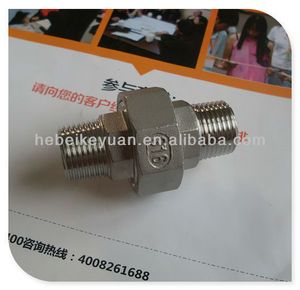 "1/2"" ss316 npt double male thread union flat with PTFE gasket"