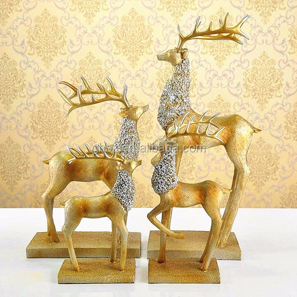 Wholesale custom resin decor Christmas moose antique deer statues craft