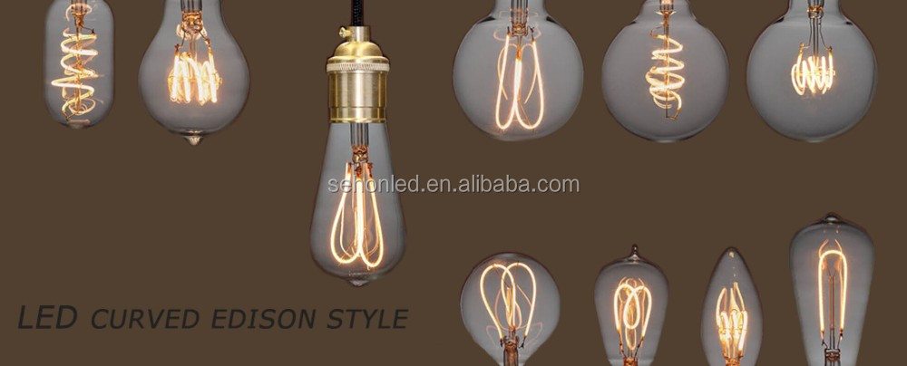 Vintage Led Edison Curved Filament C35 Candle G45 G125 Globe Light Bulb - Buy Edison Led Light ...