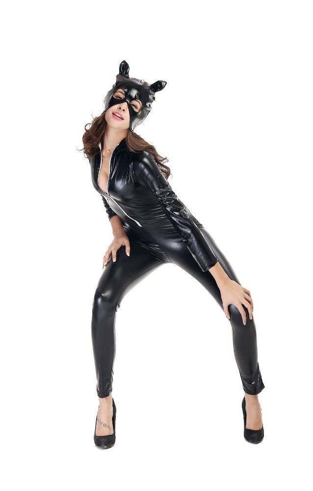 China manufacturer wholesale cosplay nigh club black leather catwoman costume