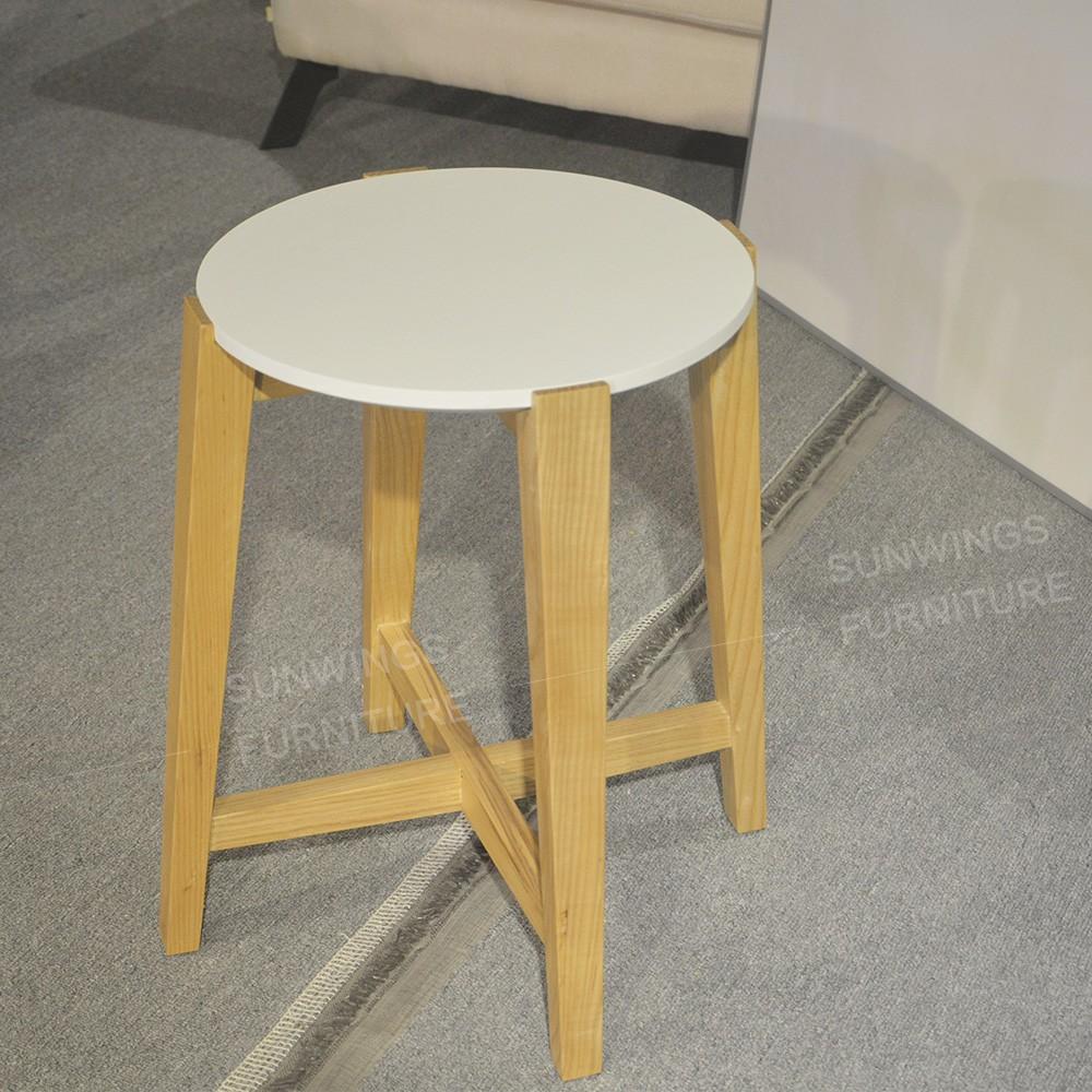 Ronde ontwerp massief houten bijzettafel salontafel met marmeren ...
