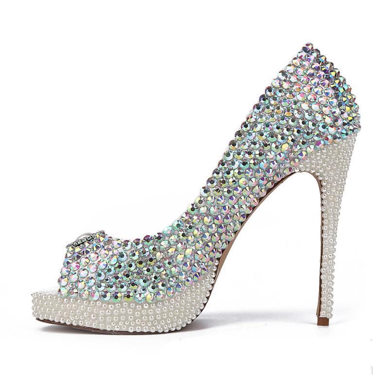 AB Color Crystal Wedding Shoes New Handmade White Pearl