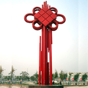 Traditional Chinese knot big size stainless steel sculpture for holiday decoration