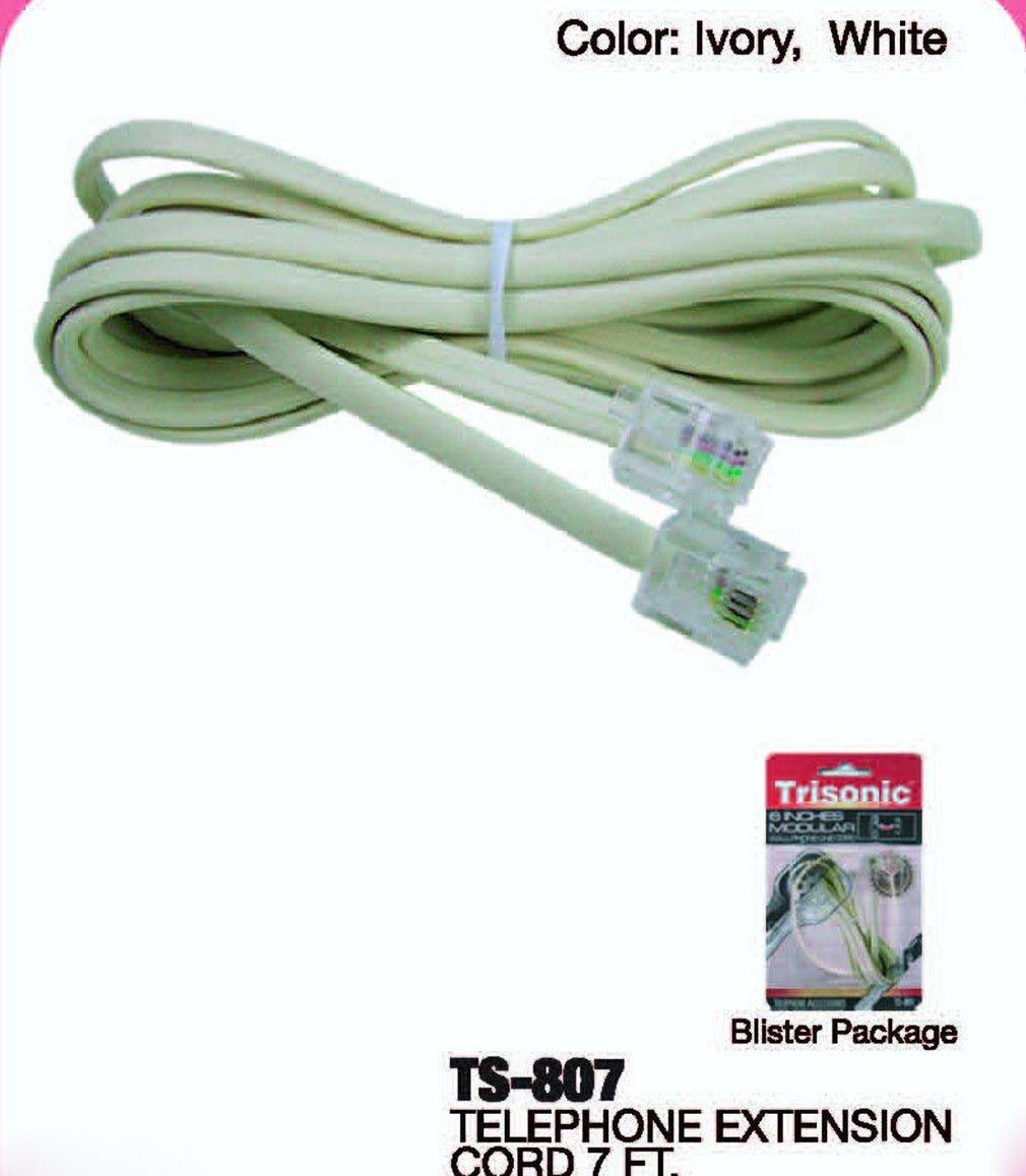 Buy 100' FT Phone Cord Cable Line Modular White RJ11 RJ-11 6P4C ...