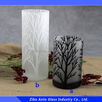 Surface Caved Branch Pattern Frosted Cylinder Glass Vase For Flower