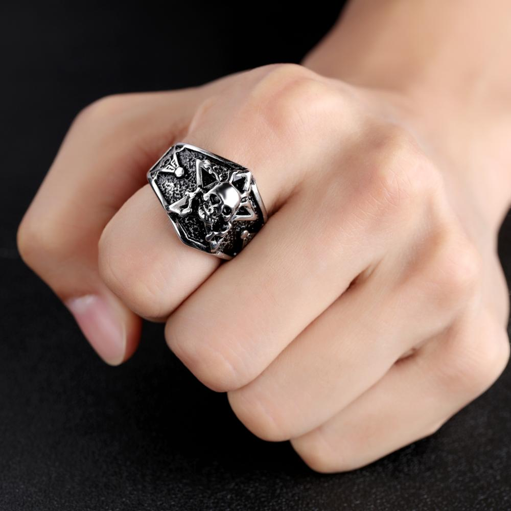 Wholesale Punk Men Gold Carving Stainless Steel Skull Rings