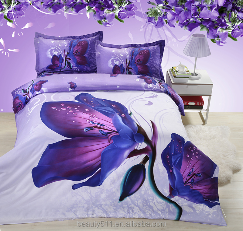 2017 wholesale polyester colorful flower design 3D duvet cover set bed sheet BS41