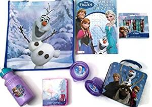 Disney Frozen Tin Collectible Royal Lunch Box 8 Piece Gift Set for Boys and Girls, Starring Elsa Anna, Kristoff, Olaf, & Sven, Fun & Delightful Blue & White Lunch Box Starring Kristoff, Olaf, Anna, & Sven, Anna & Olaf 16-ounce Nonbreakable Drinking Water Bottle with Sealing Lid, Fun Olaf Blue