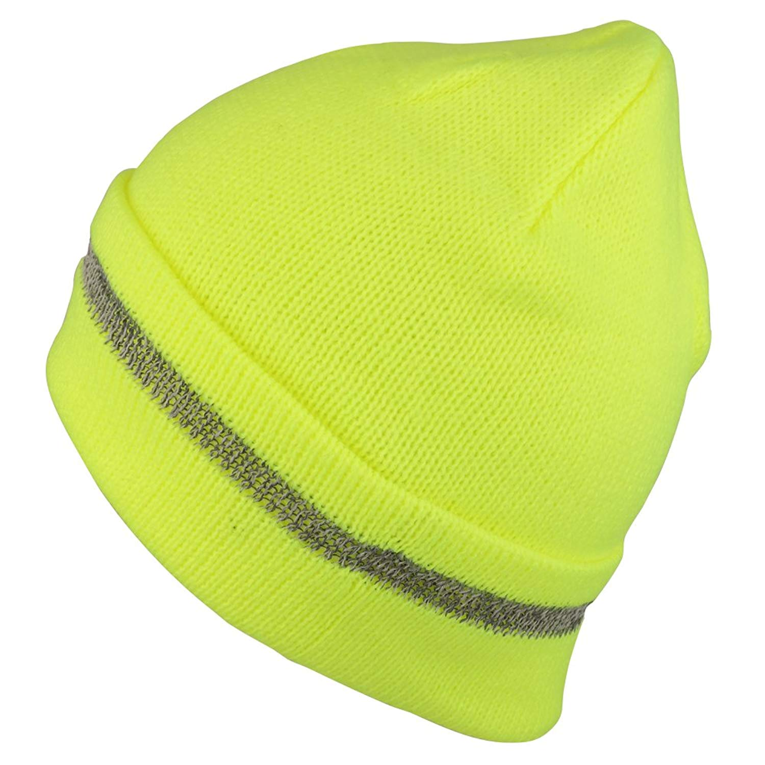 b668a219ac1fc Get Quotations · Trendy Apparel Shop High Visibility Reflective Striped  Long Cuff Knit Beanie Hat