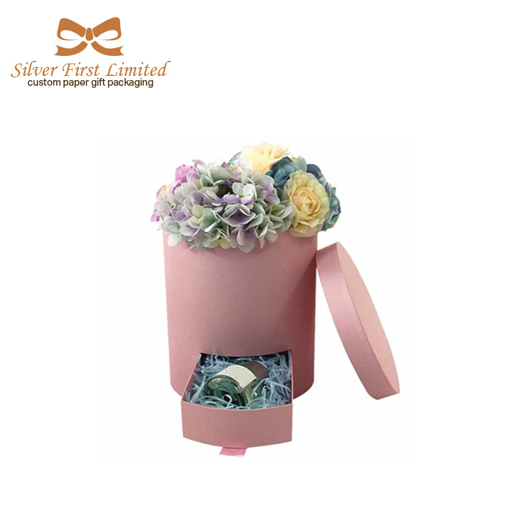 High quality Wholesale Round Flower Box Rose Box with drawer
