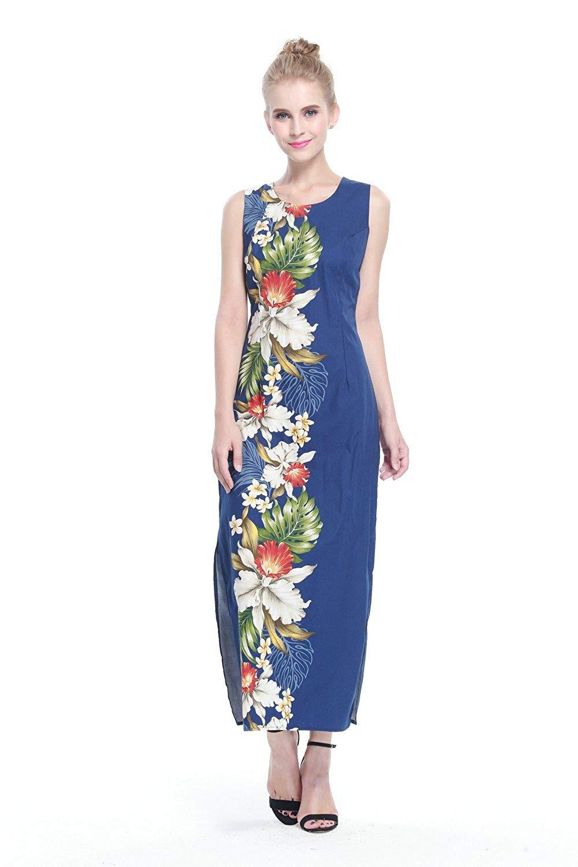 f766a7748a6c6 Made In Hawaii Women's Hawaiian Luau Long Tank Dress In Black Side Orchid