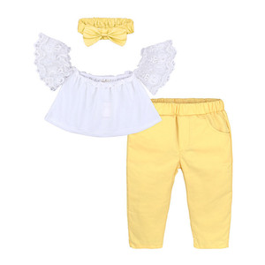 wholesale Europe fashion baby girls clothing white lace tops + yellow pants + hair band 3pcs kid girl fancy clothing
