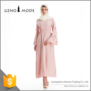 Newest Muslim Long Sleeve Lady Linen Hot Drilling Pink Dress With Sequins