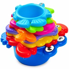 Non-Toxic Paint Baby Toys Rainbow Plastic Stacking Cups with Sea Animals