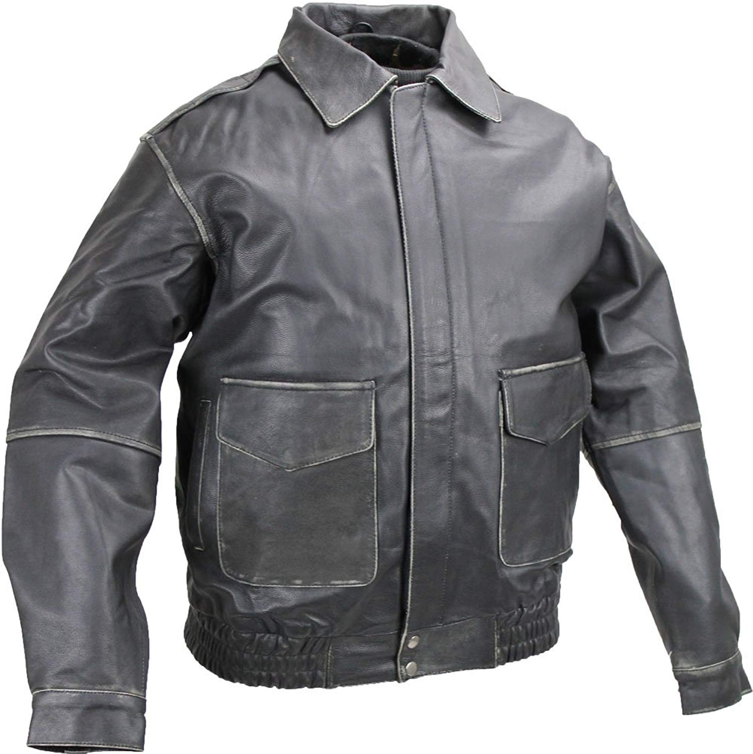unik Distressed Leather Bomber Jacket