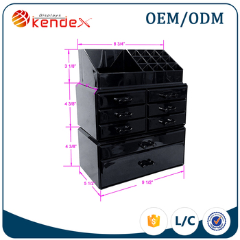 Wholesale Free Standing Black Acrylic Makeup Organizer With Drawers For Lip  Balm Storage , Buy Wholesale Acrylic Makeup Organizer With Drawers,Store