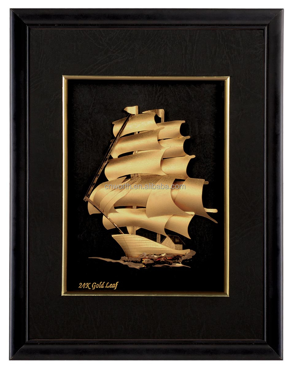 Vintage Nautical Ship 9999 Pure Gold Foil Picture In Wood Frame
