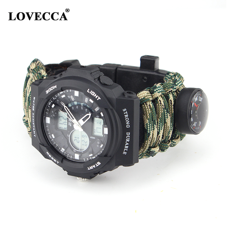 Hoge kwaliteit survival Outdoor Multifunctionele Survival 550 paracord armband horloge fabrikant