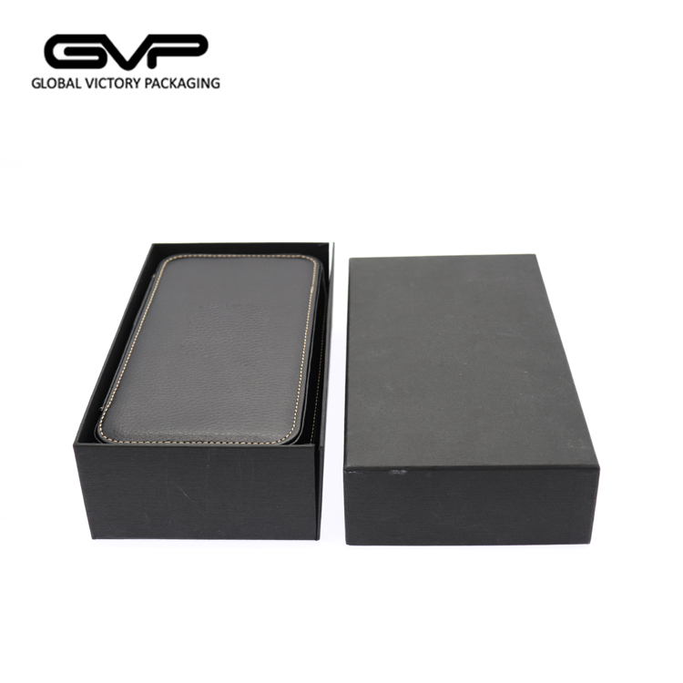 Custom logo black leather watch box case with removable PU leather pouch wholesale leather watch men case travel watch case
