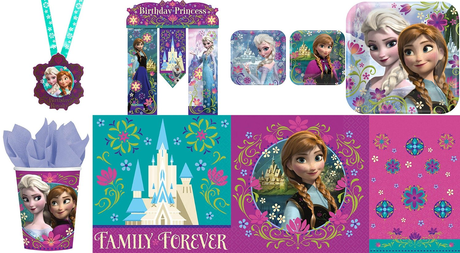 Disney Frozen 59 Piece Birthday Party Pack For 8 Guests
