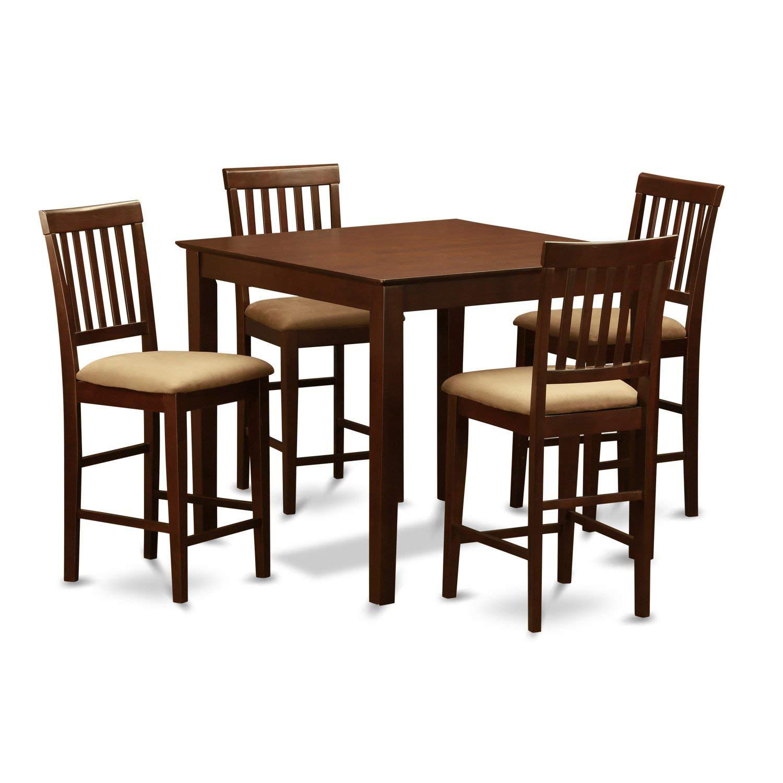 East West Furniture VERN5-MAH-C 5-Piece Gathering Table Set
